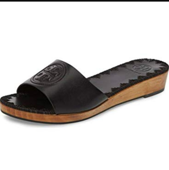 c7a2b01172 Tory Burch Shoes | Nwt Black Patty Wedge Sandals | Poshmark